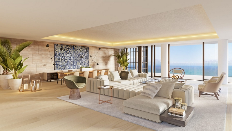 Arte by Antonio Citterio - Miami - Living and dining rooms and corner balconies with endless ocean views.