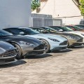 Aston Martin cars parked