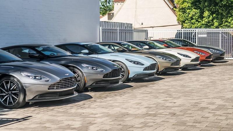 Aston Martin cars parked