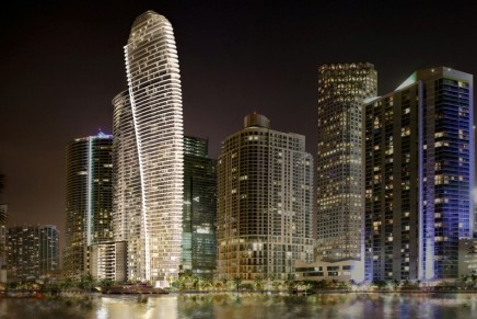 New Aston Martin Residences Miami is a unique waterfront real estate project at the mouth of the Miami River