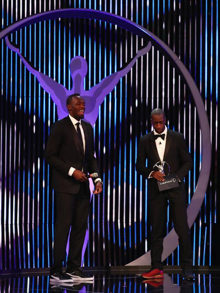 Athlete Usian Bolt of Jamaica accepts his Laureus World Sportsman of the Year Award