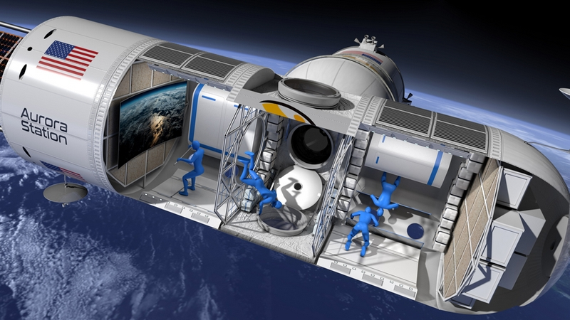 Aurora Station - the Space Hotel in orbit 200 miles above Earth