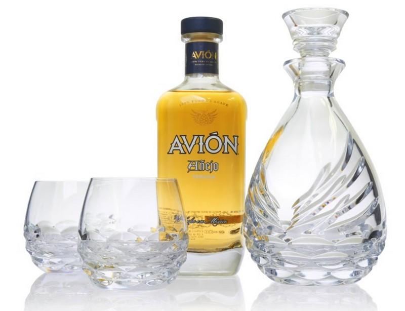 Avión Collection Crystal Sipping Decanter Gift Set for tequila lovers