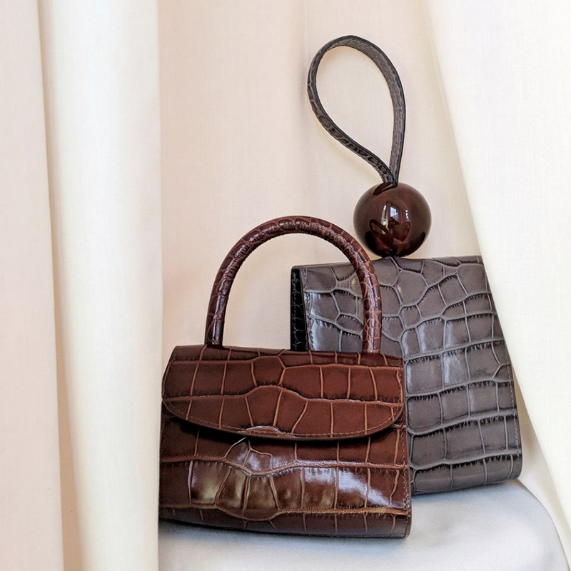 BY FAR Ball croc-embossed leather tote