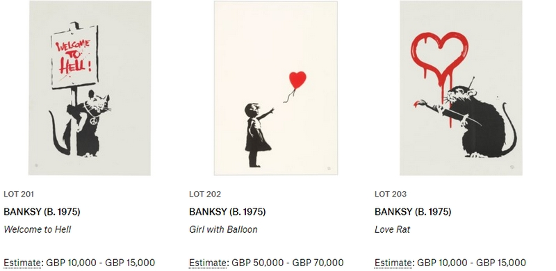 Banksy Auction Lots2019 Christie's-