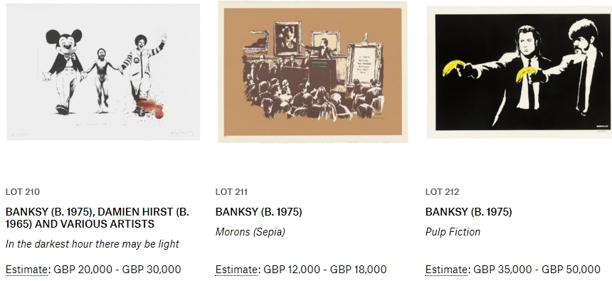 Banksy Auction Lots2019 Christie's