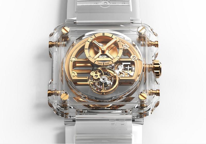 Bell & Ross BR-X1 Chronograph Tourbillon Sapphire watch details-yellow