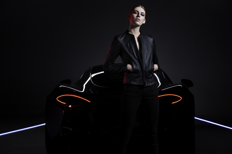 Belstaff X McLaren Collection - Model wears Hybrid Leather Driving Jacket