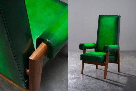 Berluti patina know-how is giving back all their splendor to Pierre Jeanneret's iconic furniture pieces