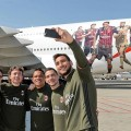 Best Airline in the World in 2017 - AC Milan players pose with the new AC Milan Emirates A380 at Milan Malpensa International Airport