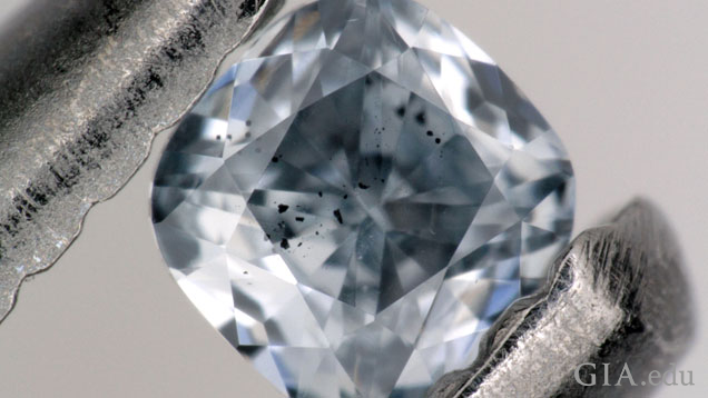 Blue boron-bearing diamond, with dark inclusions of a mineral called ferropericlase that were examined as part of the GIA study.