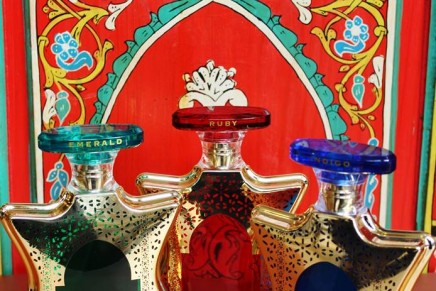 Indigo, Ruby, and Emerald: Bond No. 9's Dubai—a collection of New York-inspired Mideast eaux de parfum.