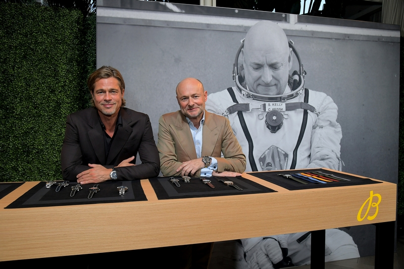 Breitling Cinema Squad Member Brad Pitt with Breitling CEO Georges Kern at the Breitling Summit in Los Angeles, California