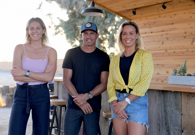 Breitling Surfers Squad Members Stephanie Gilmore, Kelly Slater and Sally Fitzgibbons at the Surf Ranch in Leemore, California
