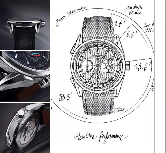 Bugatti Aérolithe Performance 2017 - watch and car sketches