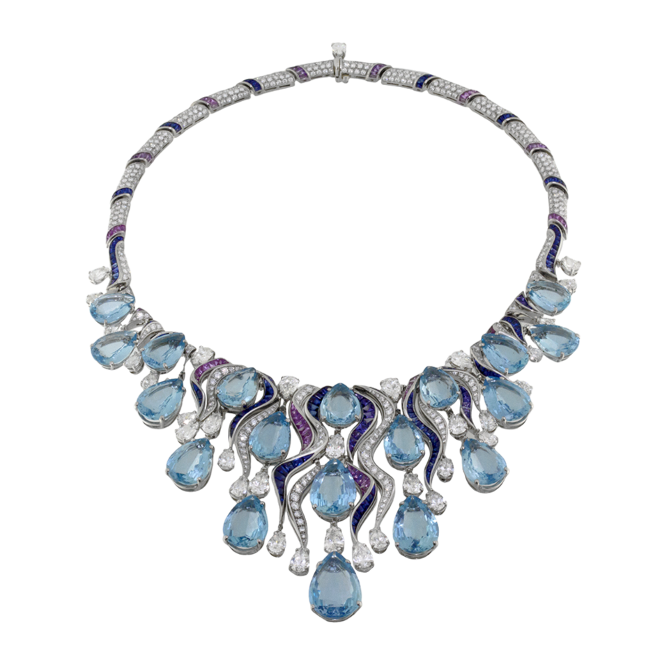 Bulgari High Jewellery necklace in platinum with 19 drop shaped aquamarines, blue and purple buff-top sapphires and diamonds