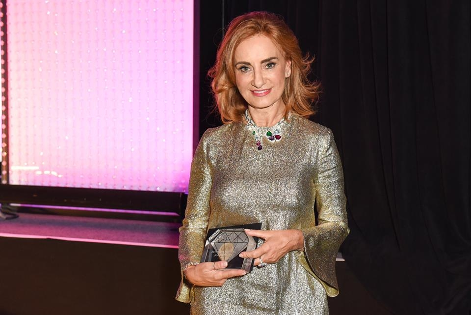 Bulgari Jewellery Creative Director Lucia Silvestri winning the Gem Award of Jewelry Design during the 15th Annual GEM Awards in NYC