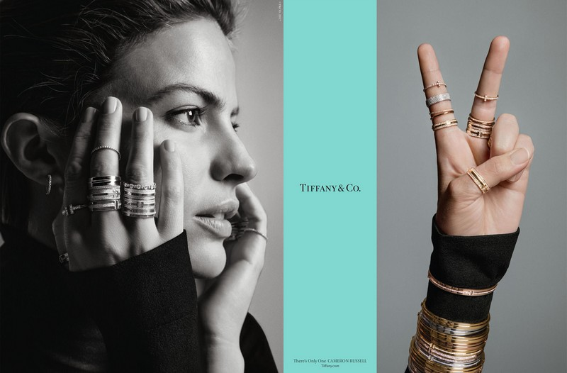 Cameron Russell, an American supermodel and activist is wearing Tiffany T two rings and Elsa Peretti Diamonds by the Yard
