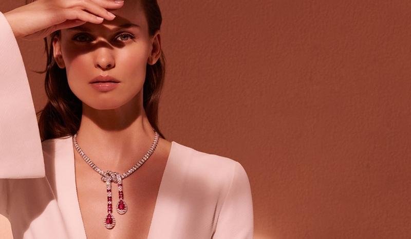 Cartier elegant ruby necklace from the new Etourdissant Collection, luxuriously knotted to drape with ease