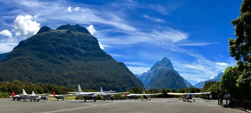 Cessna Caravan turboprops at Milford Sound Airport