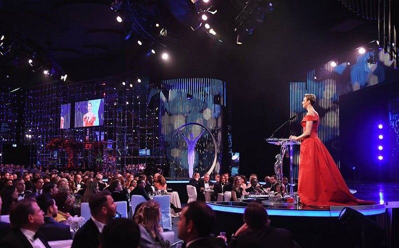 Charlene,Princess of Monaco speaks on stage during the 2017 Laureus World Sports Awards