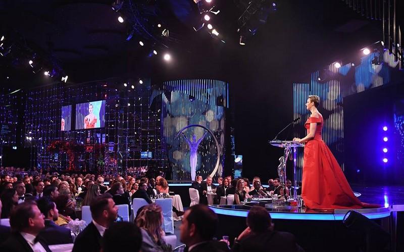 Charlene,Princess of Monaco speaks on stage during the 2017 Laureus World Sports Awards