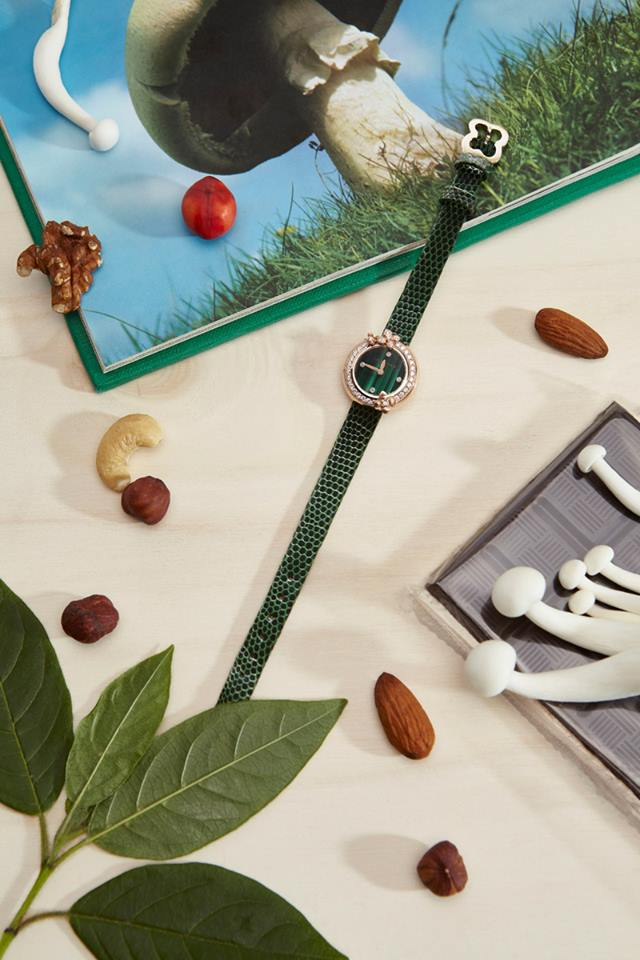 Chaumet Hortensia Eden watch with malachite dial
