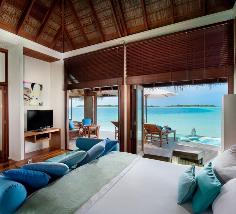 Choose beach or over-water hideaways, or seek peace in the spa retreat