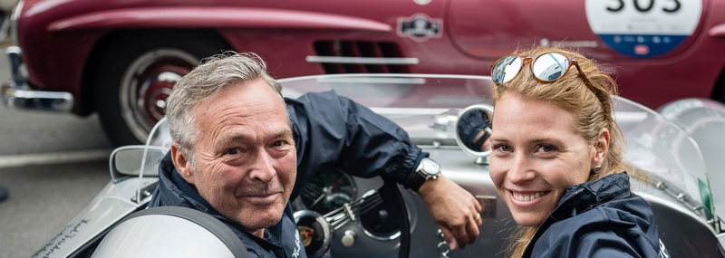 Chopard Co-president Karl-Friedrich Scheufele, a true car aficionado, and his daughter Caroline-Marie