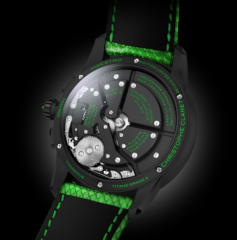 Christophe Claret Mamba watch 2018 - Green Jungle backcase