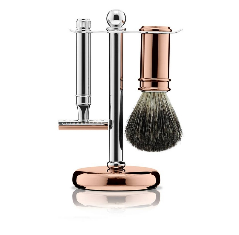 Chrome & Rose Gold Plate 3 Piece Shaving Set and a Leather Wash Bag made exclusively by Ettinger