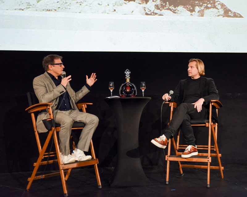 David O. Russell and Louis XIII Global Executive Director Ludovic du Plessis at the LA Premiere of the Restored 1919 Classic THE BROKEN BUTTERFLY in Los Angeles on December 13