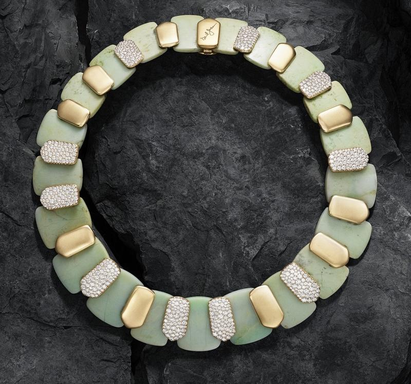 David Yurman one-of-a-kind Artist Series Necklace with Chrysoprase and Diamonds, courtesy of David Yurman