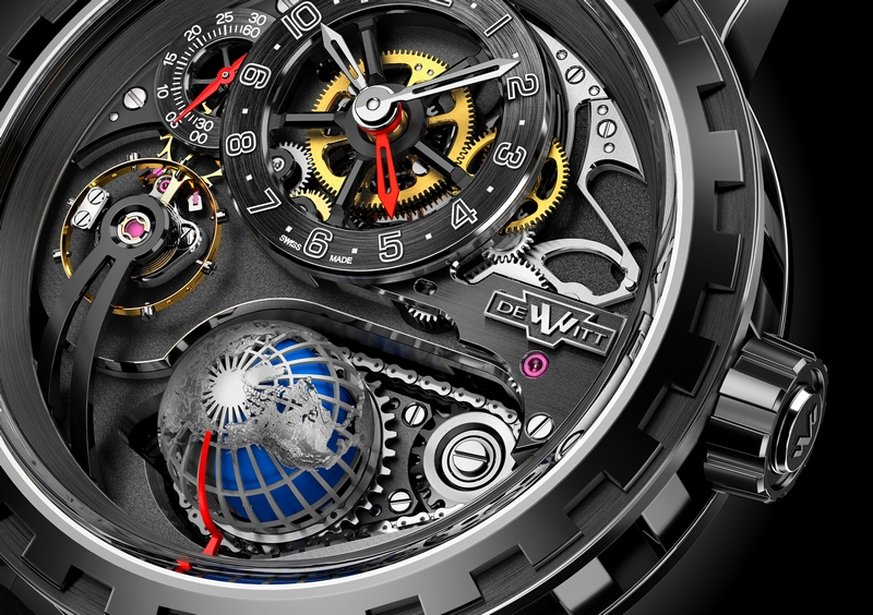 DeWitt ACADEMIA HOUR PLANET watch - closeup