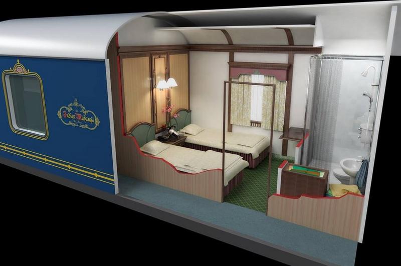Deccan Odyssey, 3-D photo of Deluxe cabin