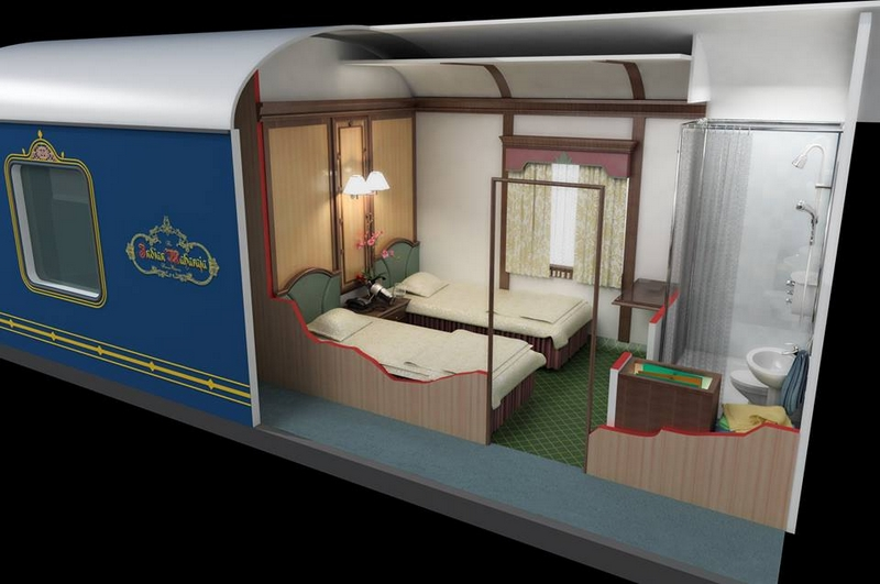 Deccan Odyssey, 3-D photo of Deluxe cabin