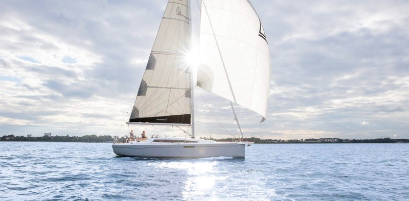 Dehler 34 sailing yacht on the sea