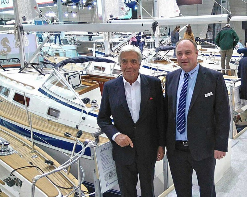 Designer Germán Frers visiting the Hallberg-Rassy stand at the boat show in Düsseldorf-