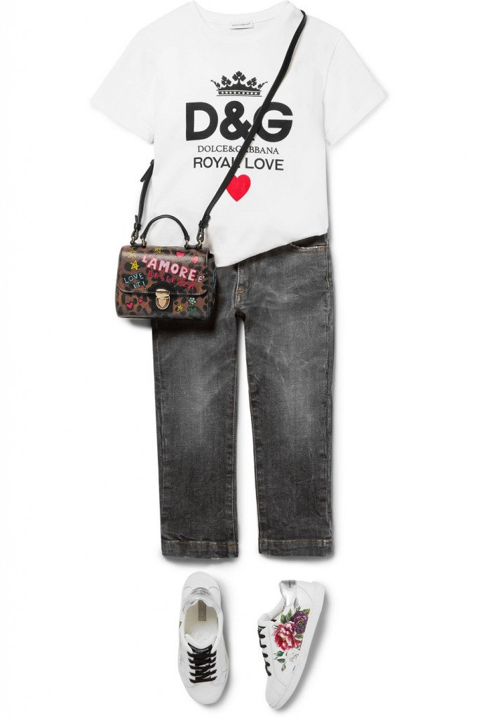 Dolce&Gabbana childrenswear capsule-floral-print leather sneakers
