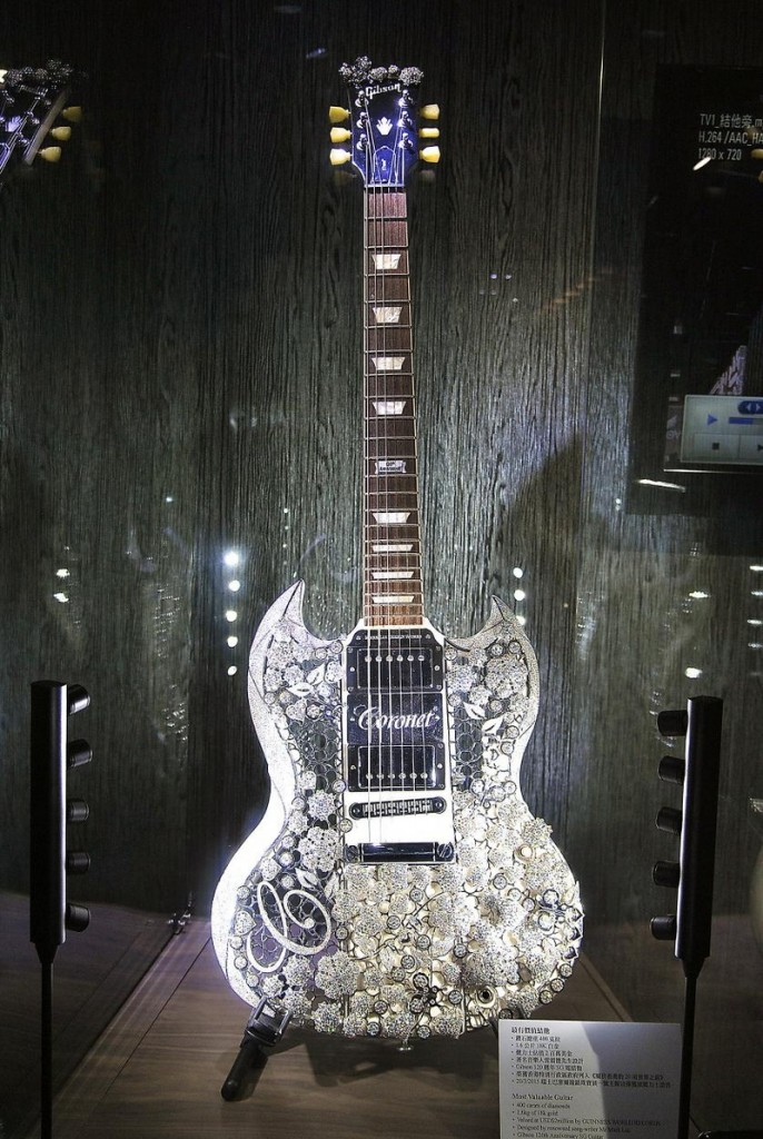 Eden of Coronet, the world's most valuable guitar, on display at 2019 Jewellery and Watch Show Abu Dhabi