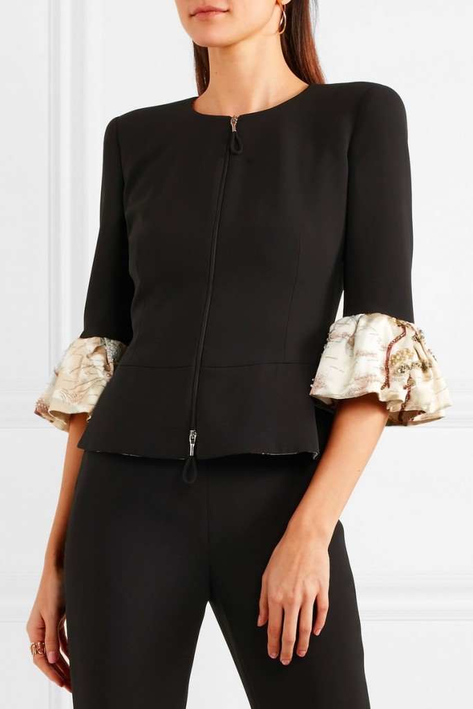 Embellished ruffled silk peplum jacket