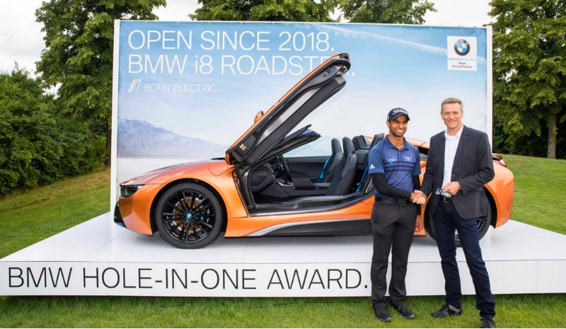 England's Aaron Rai aces the 167-yard 16th hole at the 30th BMW International Open.