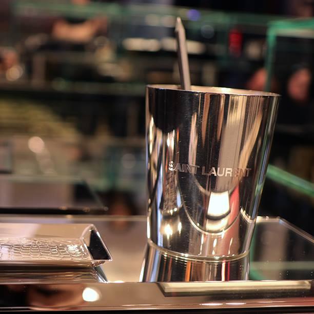 Engraved silver pencil holder - Christofle x Saint Laurent collaboration at Colette