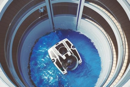Escape's forward-looking design includes a greenhouse, a moon pool, and a atrium stretching down through the decks