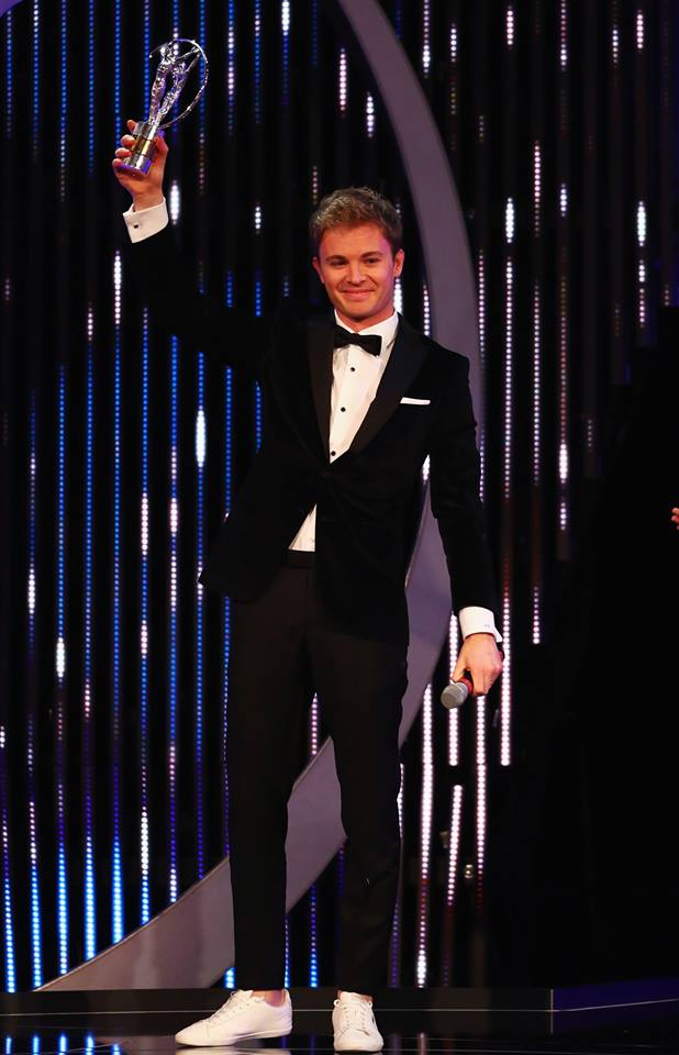F1 Driver and Laureus Ambassador Nico Rosberg of Germany with his Laureus World Breakthrough of the Year Award