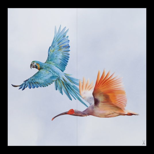 FLOCK OF BIRDS WALL PAINTING MACAW AND IBIS