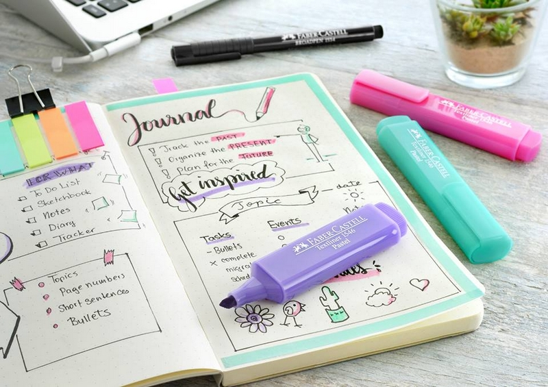 Faber-Castell textliners mark the highlights in your bullet journal in soft pastel shades