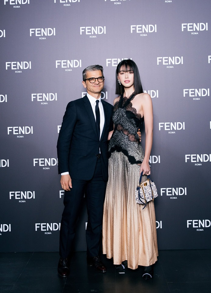 Fenid Serge Brunschwig and Davika Hoorne at Fendi Women's and Men's Fall-Winter 2019-2020 Collections Show in Shanghai