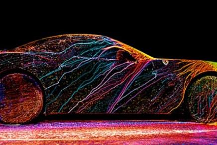 What happens when UV paint and a Ferrari CaliforniaT meet at 240 km/h?