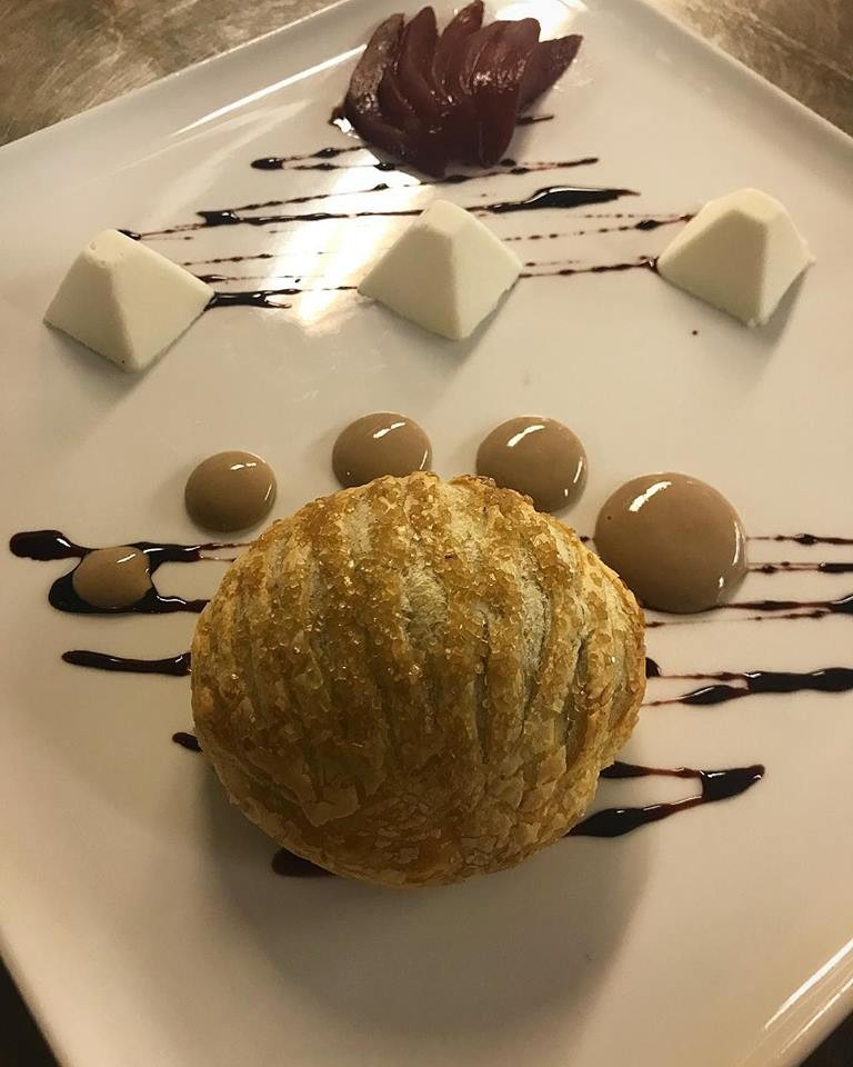 Flagstaff House Restaurant - Valrhona Pithivier with Haystack Mountain Goat Cheese, Pinot Noir Sabayon and Poached Pear